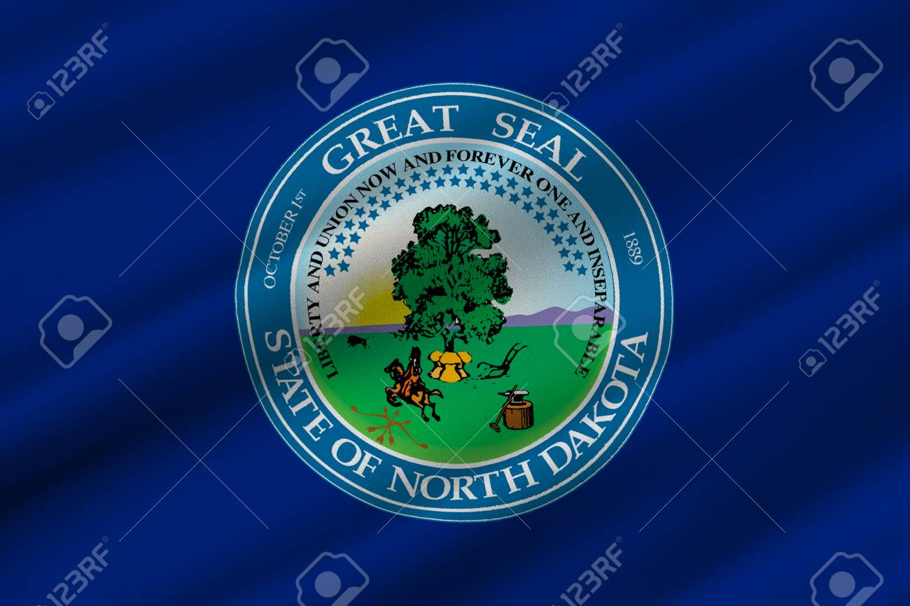 Flag Of North Dakota Is The State In United States 3d Illustration