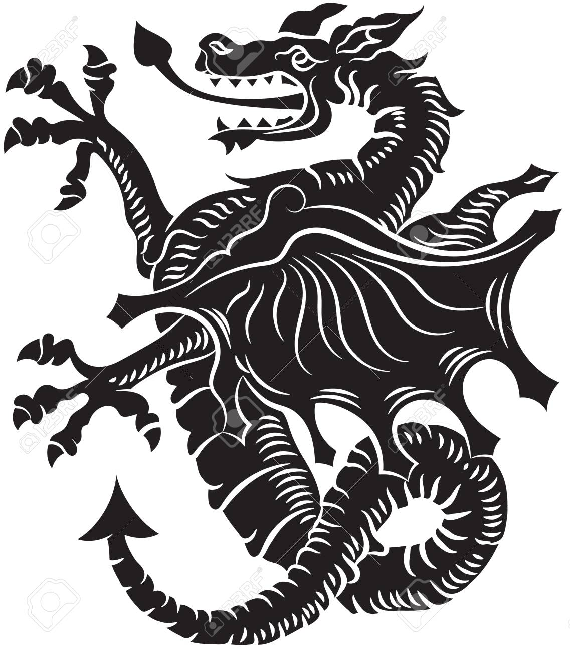 tribal tattoo dragon vector illustration on white background royalty rh 123rf com dragon vector free dragon vectoriel free