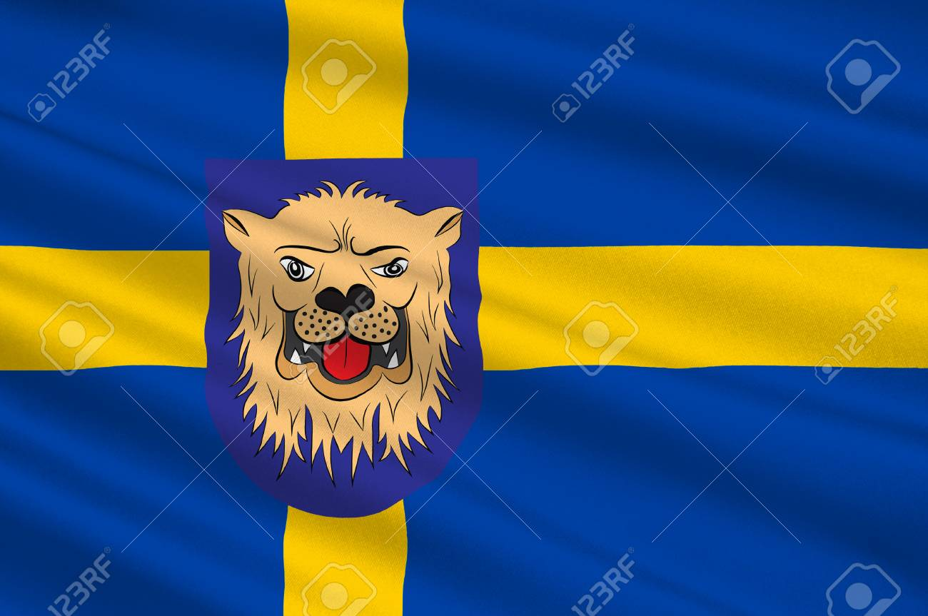 Flag Of Linkoping Is A Capital City Of Ostergotland County In Stock Photo Picture And Royalty Free Image Image 93287583