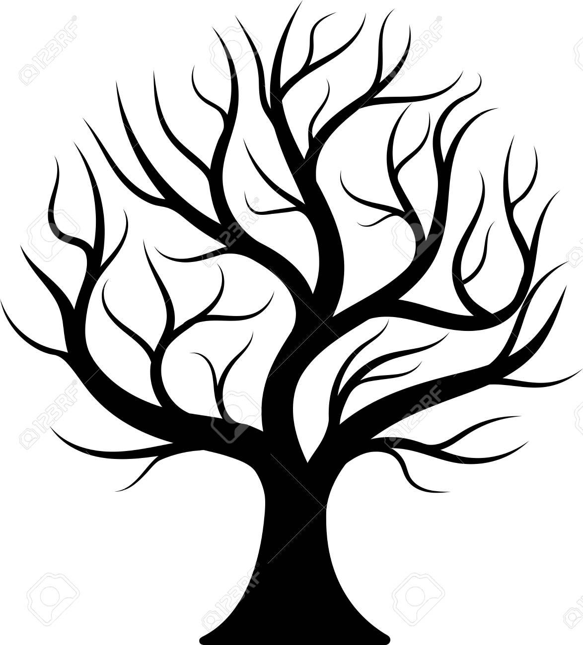 Black silhouette tree. - 104568372