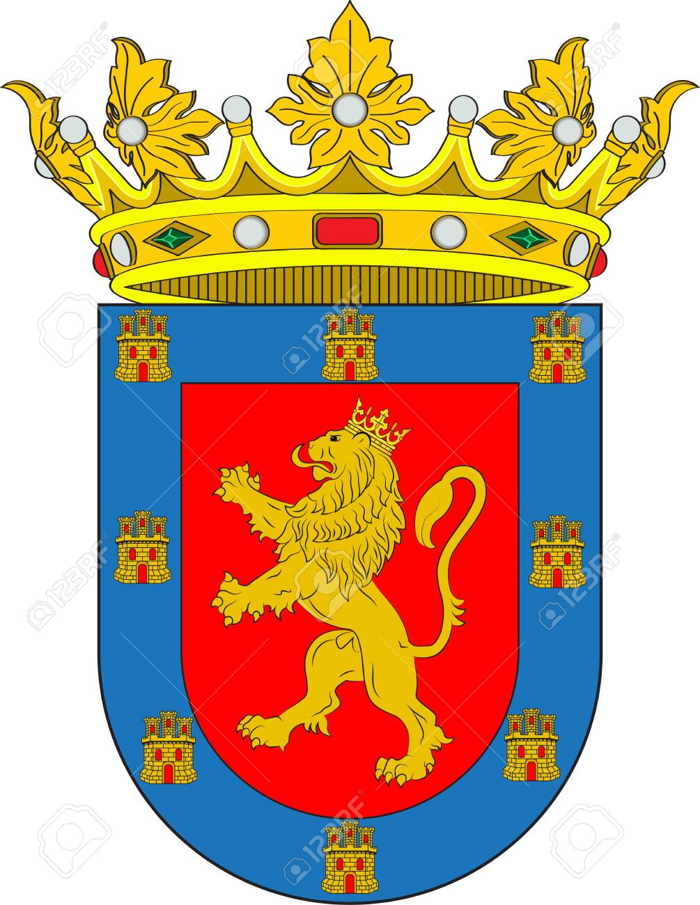 Coat of arms of Coria is a Spanish municipality in the province of Caceres, Extremadura, Spain. Vector illustration - 127600238