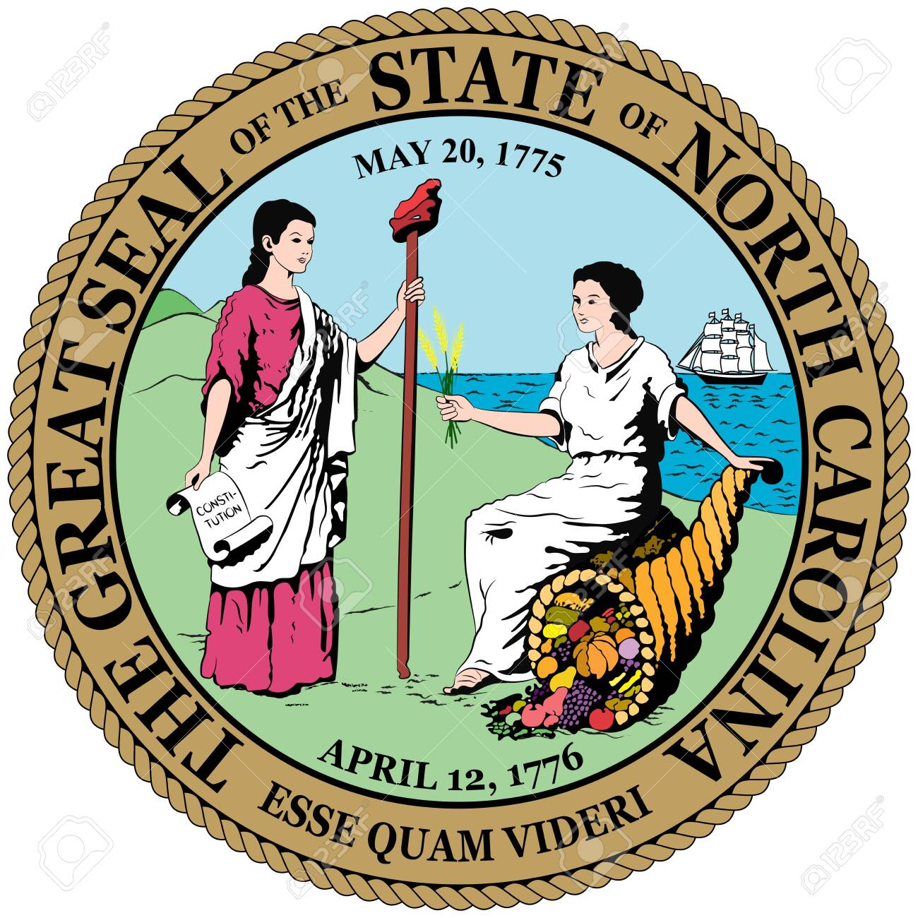 Coat of arms of North Carolina is a state located in the southeastern region of the United States. Vector illustration - 134948470