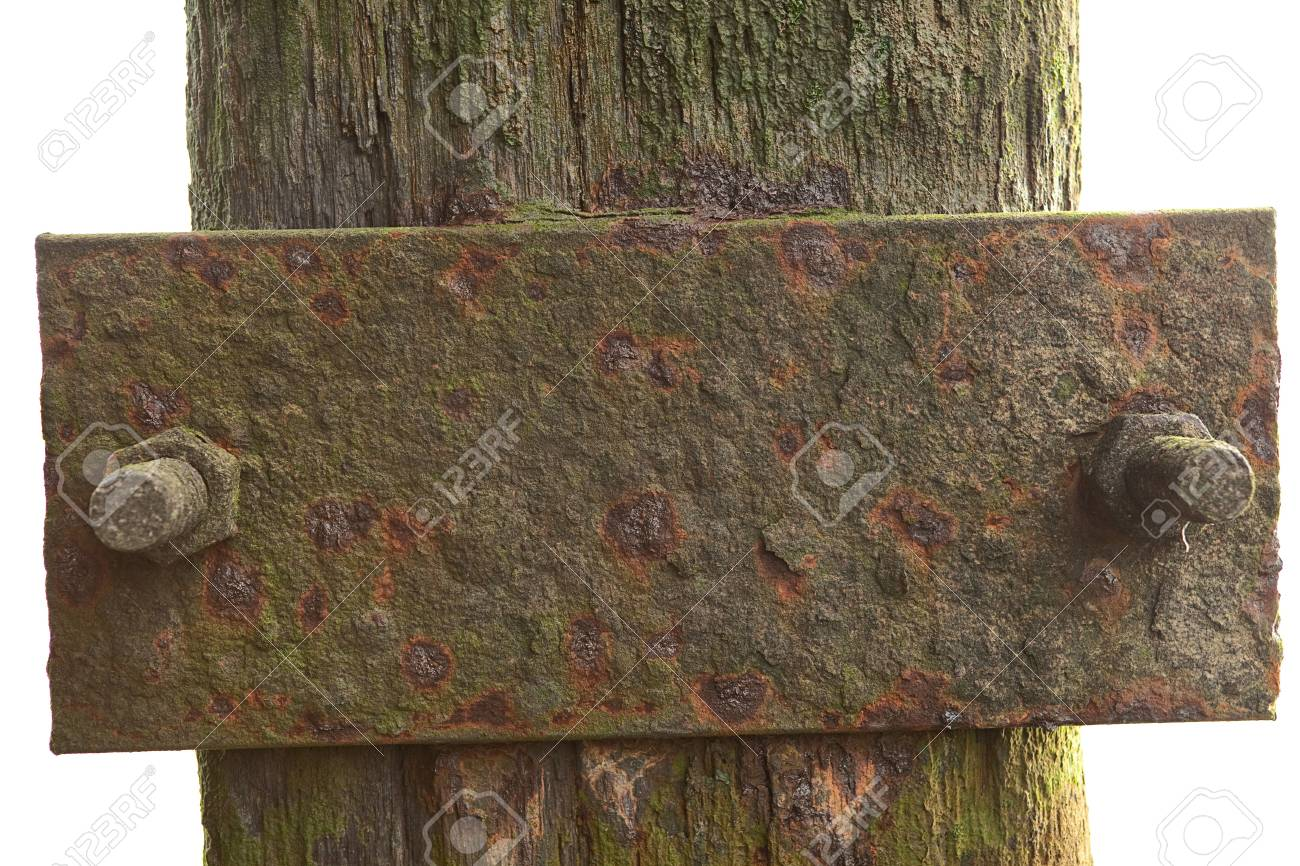 rusty plate screwed on weathered pole covered with algae Stock Photo - 5756307
