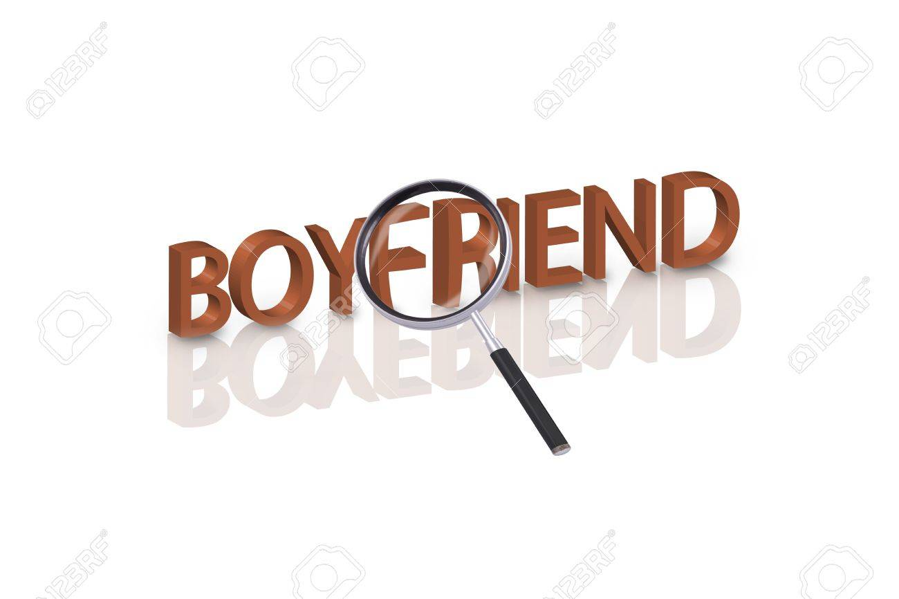 Magnifying Glass Enlarging Part Of 3D Word Boyfriend In Red With Reflections Stock Photo