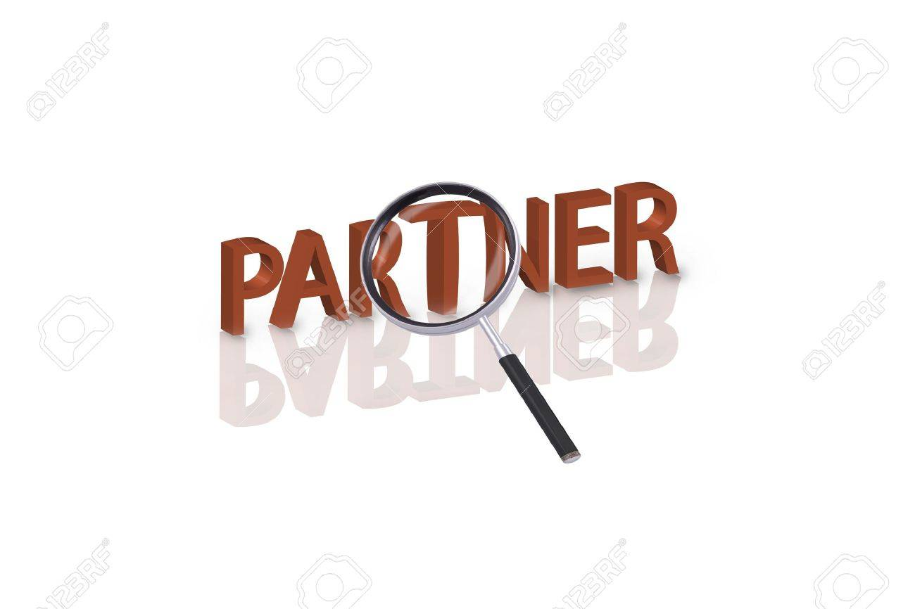 magnifying glass enlarging part of 3D word partner in red with reflections Stock Photo - 6269142