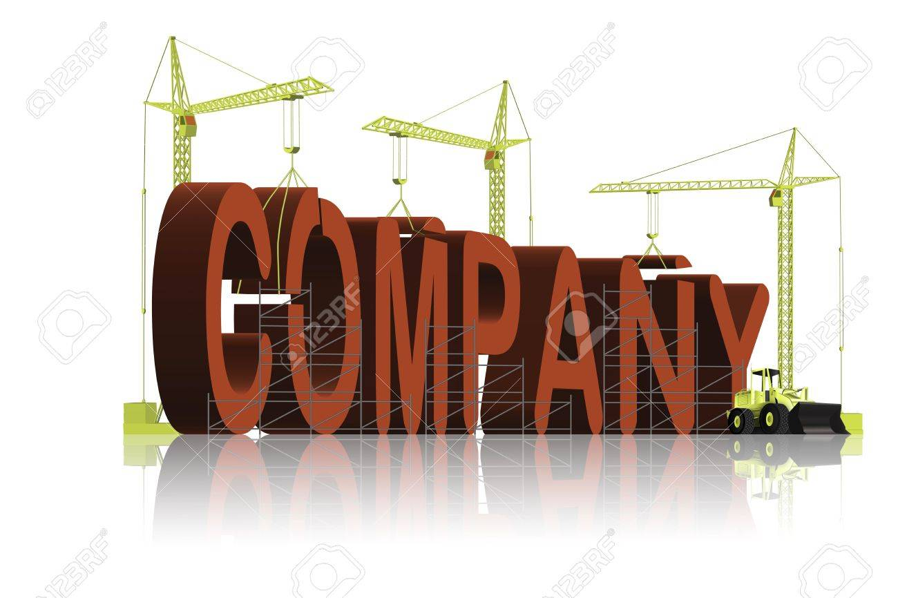 company, tower cranes constructing 3d word Stock Photo - 6542745