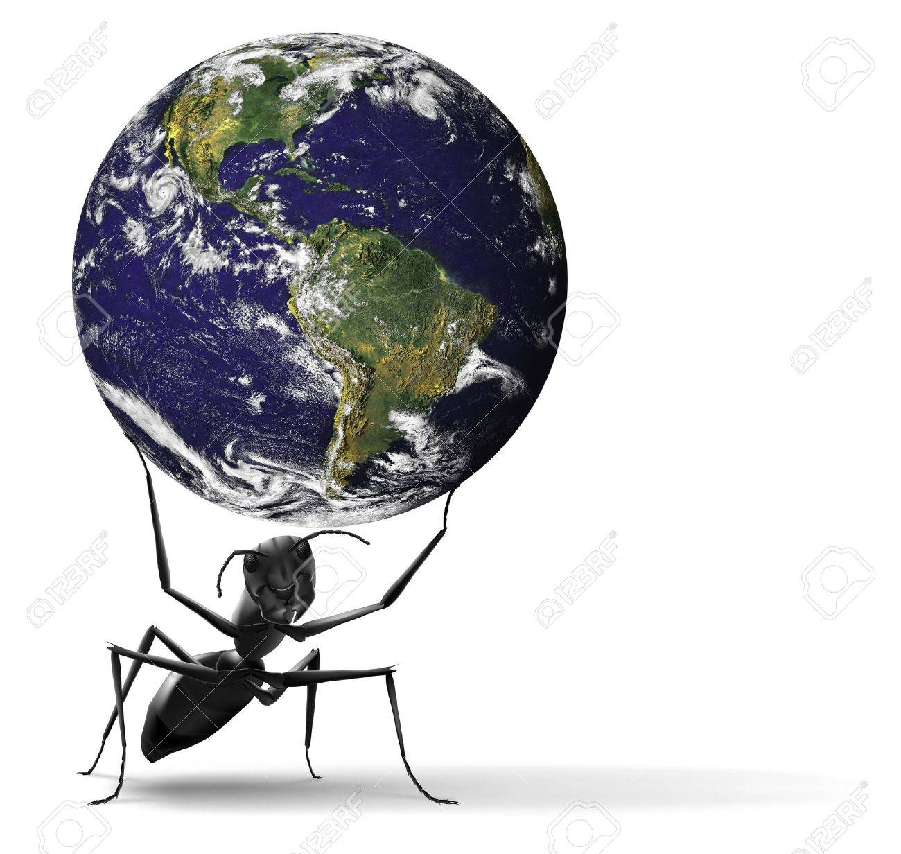 small ant lifting heavy blue earth insect illustration Some components of this montage are provided courtesy of NASA, and have been found at http://visibleearth.nasa.gov/ Stock Illustration - 7156471
