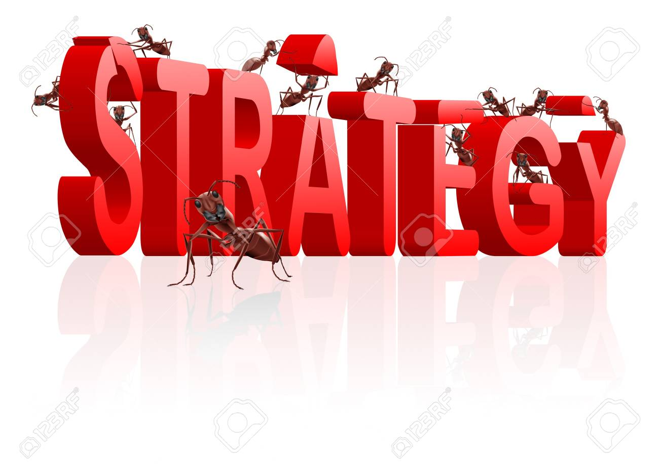 strategy building red word built by ants Stock Photo - 7790431