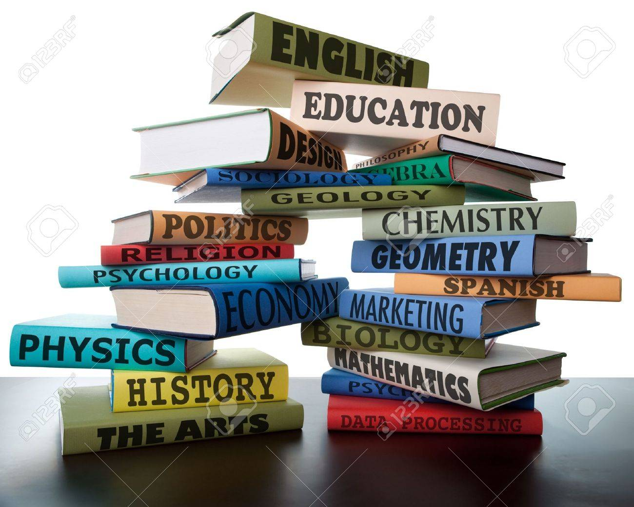 school books on a stack educational textbooks wih text education