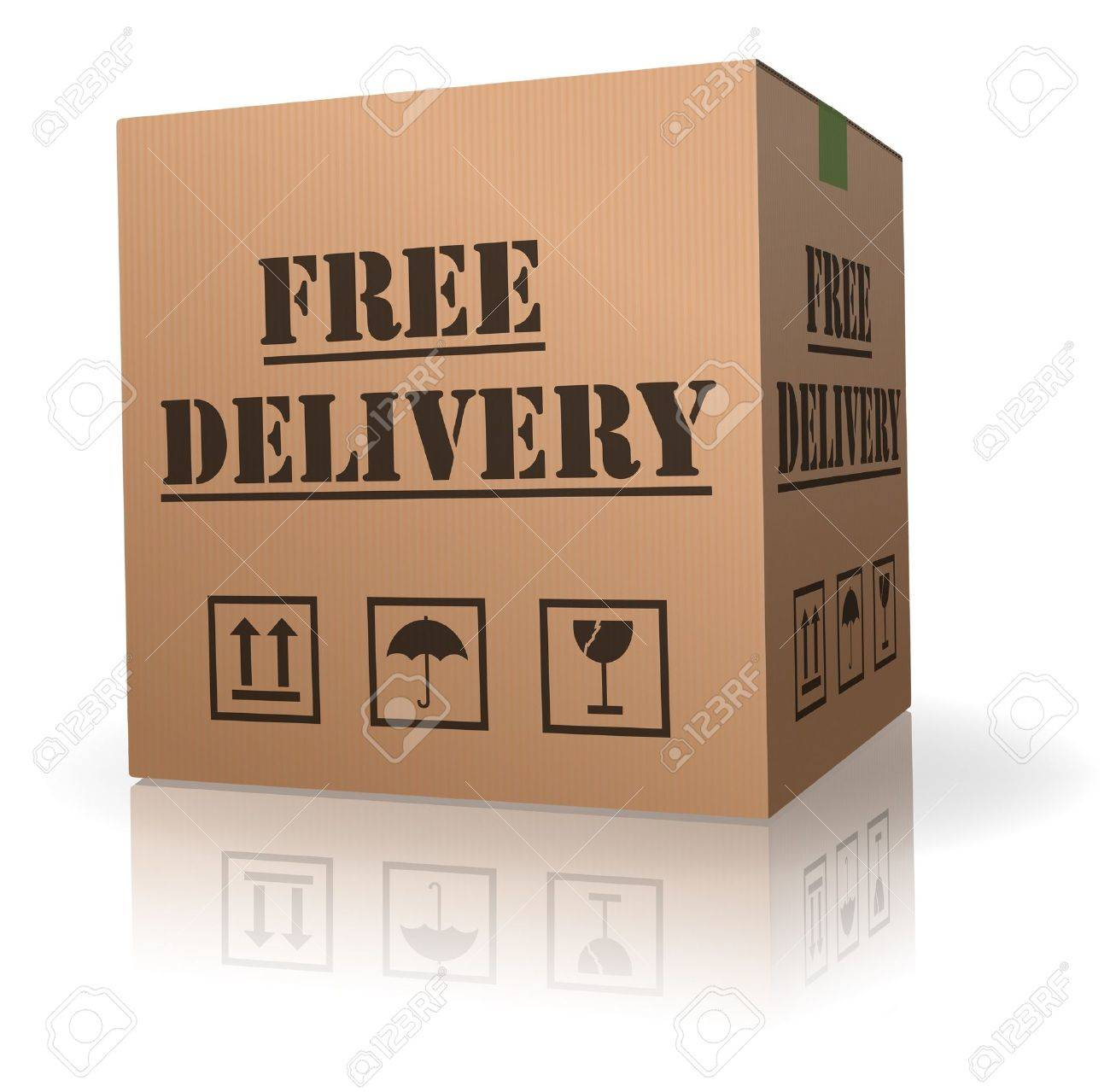 shipping package free delivery cardboard parcel with text order shipment logistics after online shopping deliver packet or relocation and moving Stock Photo - 8012990
