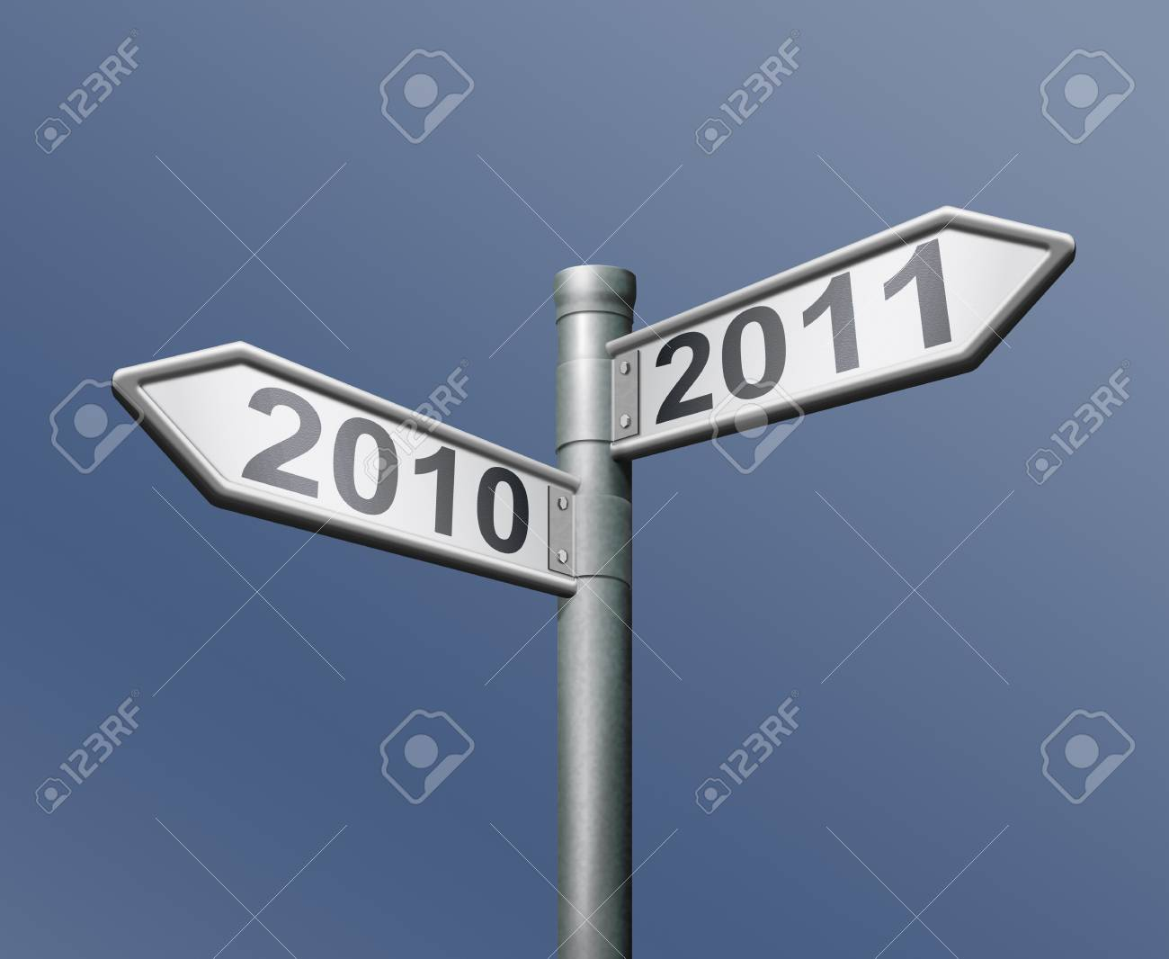 road sign two arrows indicating to past and future 2010 and 2011 old to new year Stock Photo - 8363712