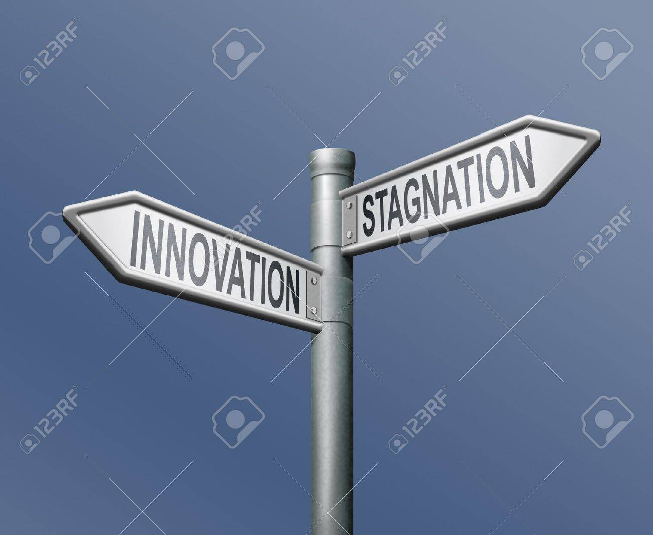 innovation stagnation road sign arrow progress or standing still innovate and move ahead become market leader Stock Photo - 8363727