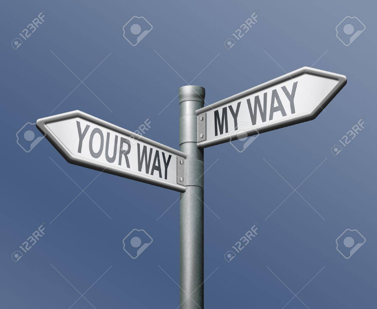 your way my way road sign on blue background Stock Photo - 8363716