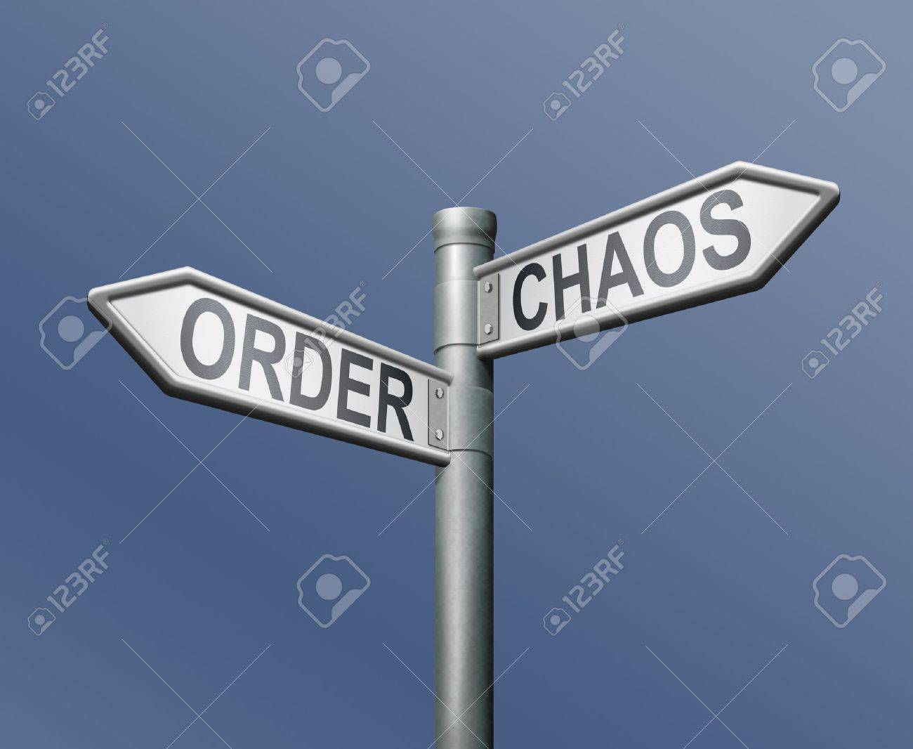 chaos order road sign on blue background Stock Photo - 8363724