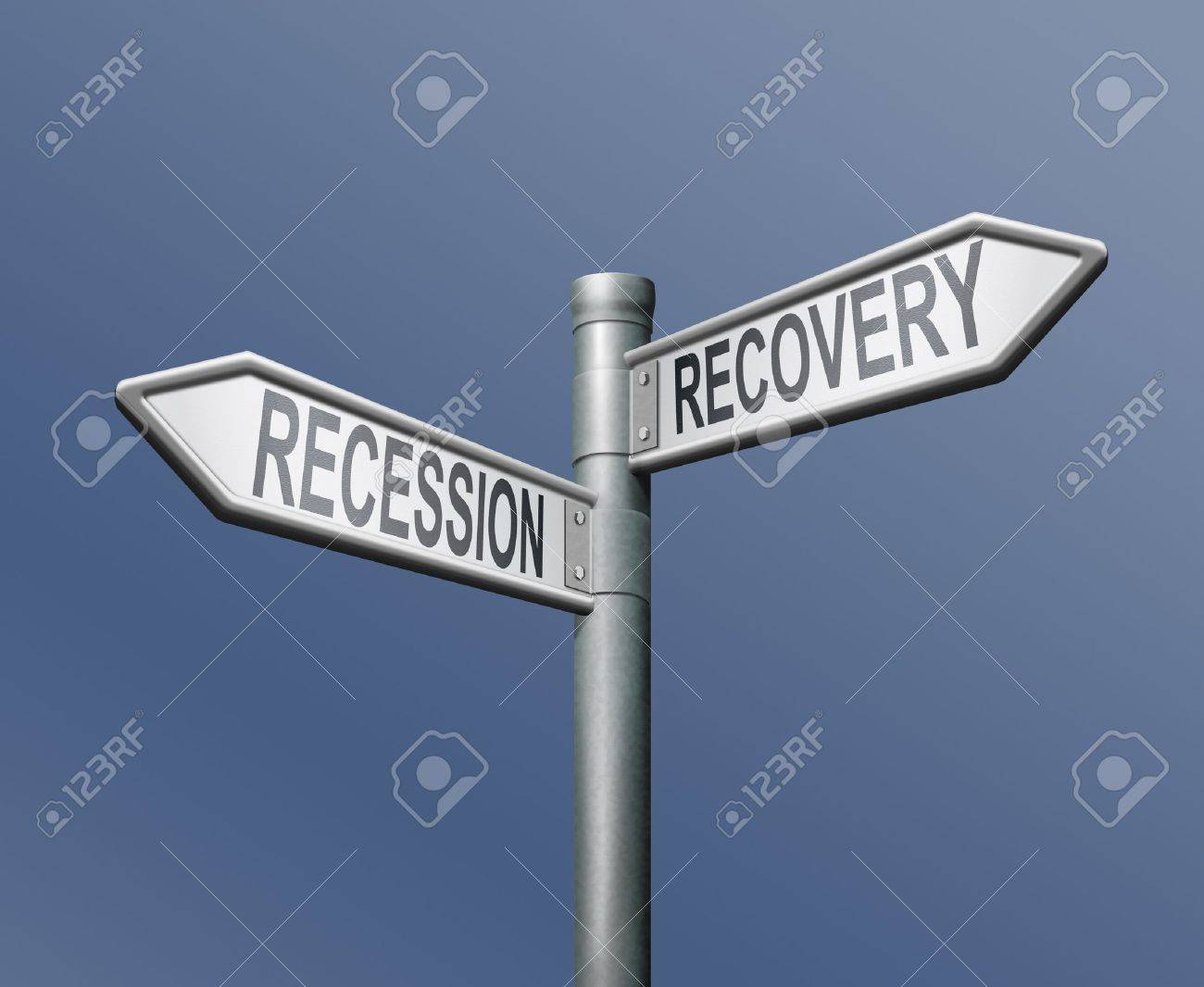 recession recovery road sign arrow on blue background Stock Photo - 8363726