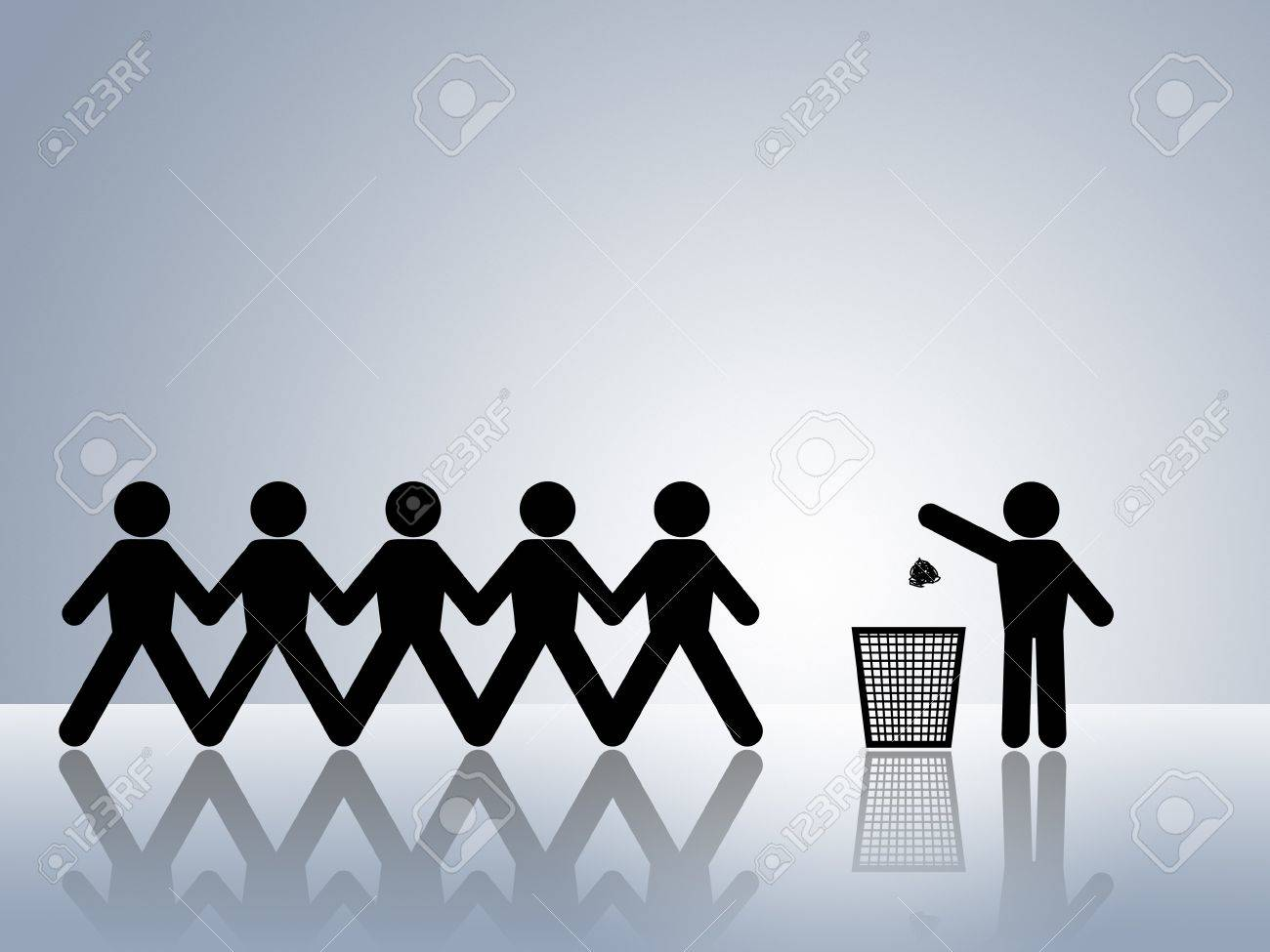 paper chain figures one tossing waste in a trash can concept for garbage disposal Stock Photo - 8558535