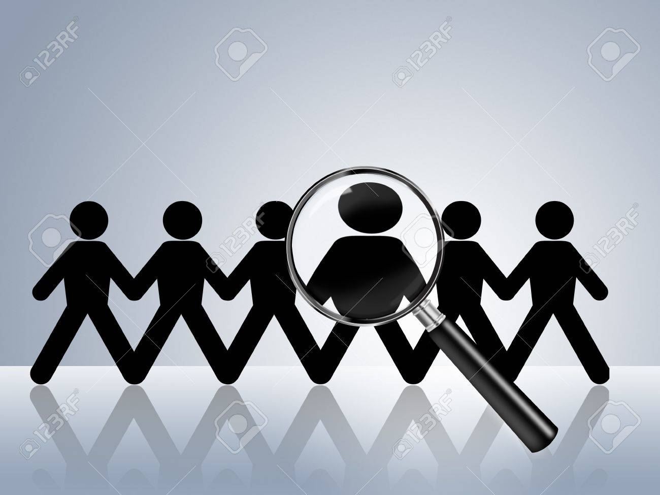 paper chain figures wanted employer job vacancy head hunter Stock Photo - 8558496