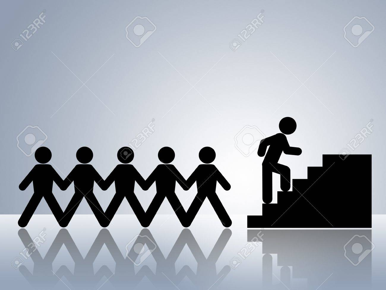 paper chain figures climbing stairs job promotion or career move stock photo paper chain figures climbing stairs job promotion or career move