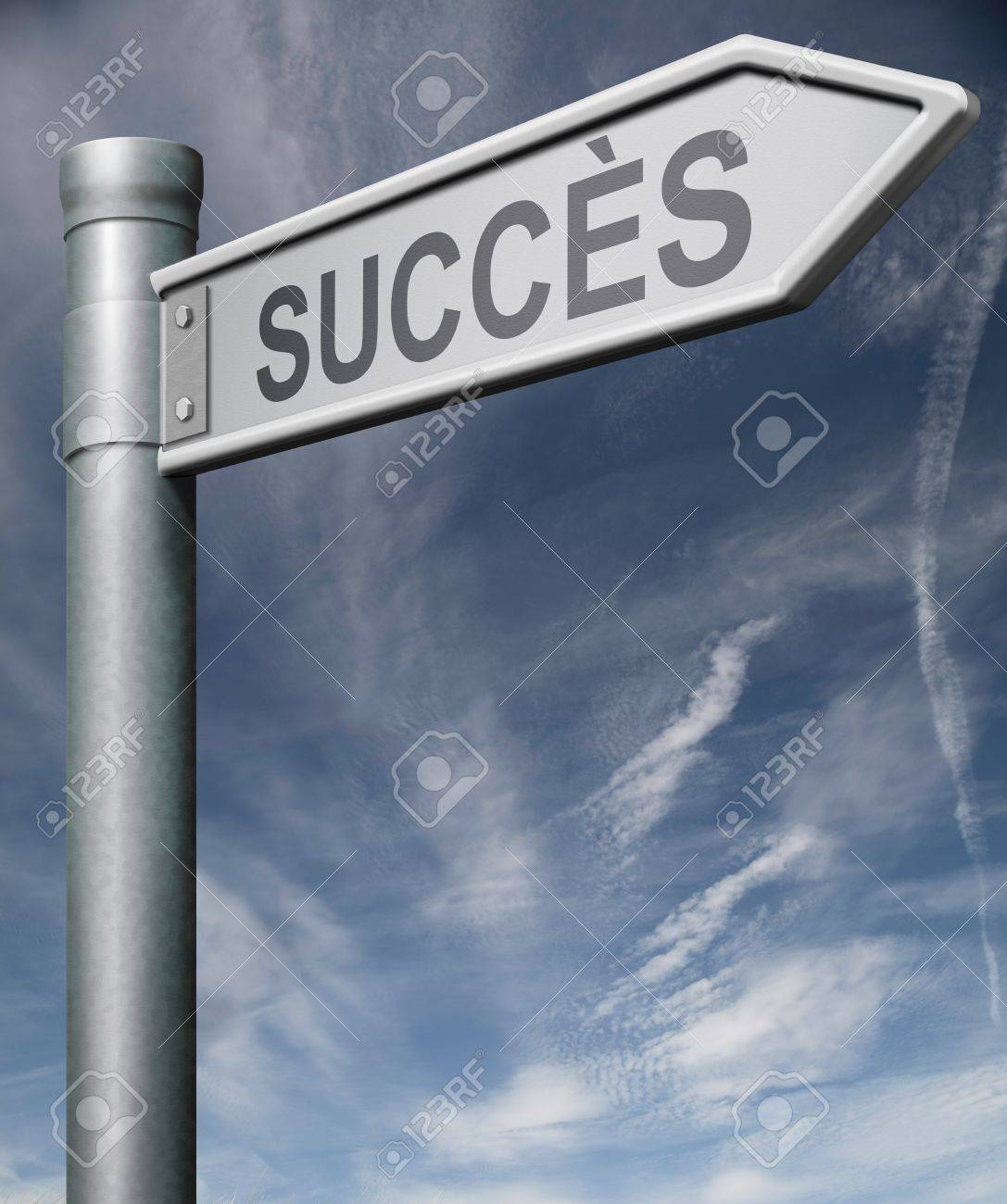 success French sign pointing arrow thumbs up way and key to success in business life and finance Stock Photo - 9005487