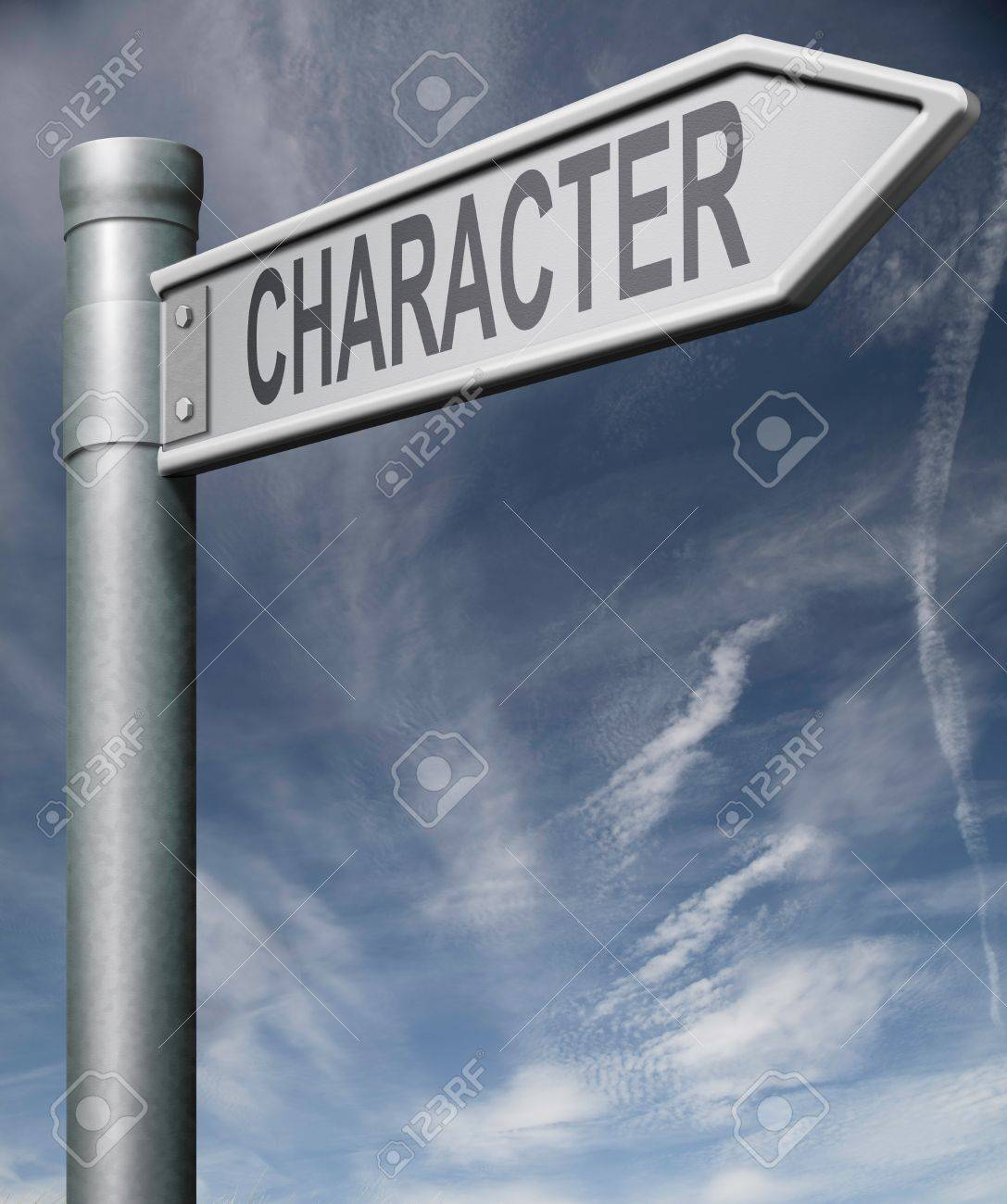 character road sign arrow pointing towards psychological personality building self esteem and strength Stock Photo - 9005914