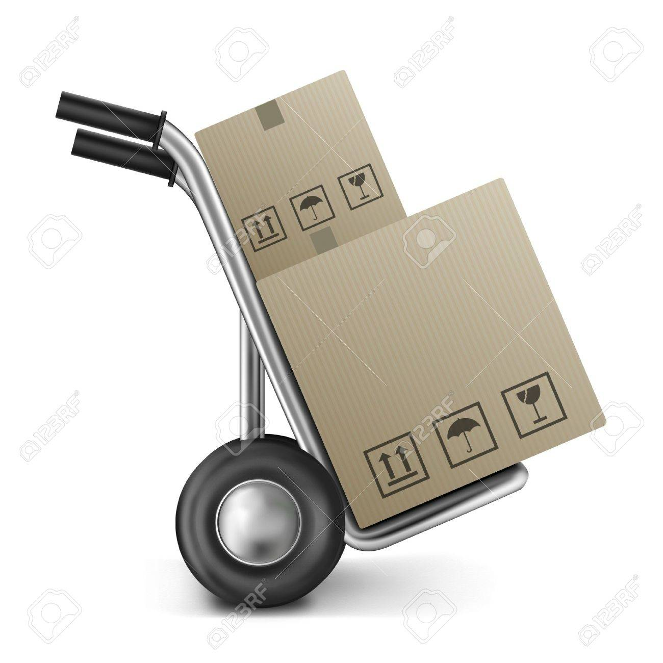 cardboard box on sack truck with copy or empty space isolated on white concept for online internet web shop or storage and moving box Stock Photo - 9092671