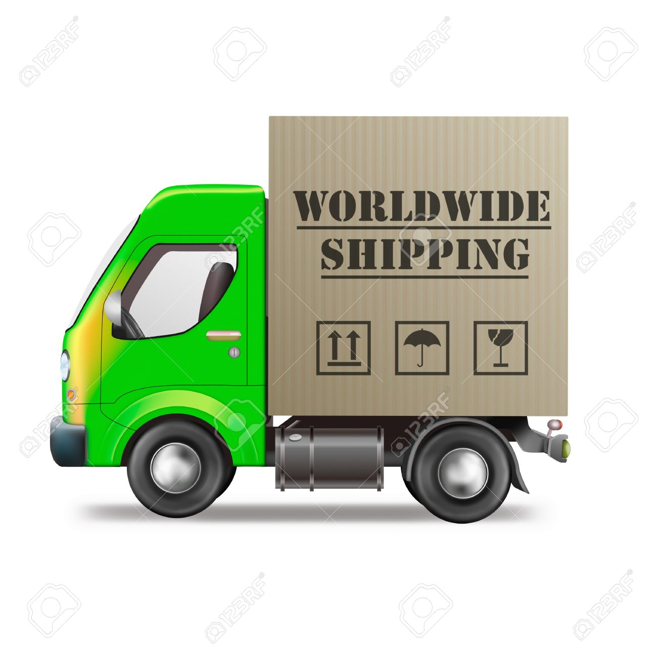 worldwide shipping of online internet order from web shop in delivery truck with cardboard box package global international trade Stock Photo - 9387528