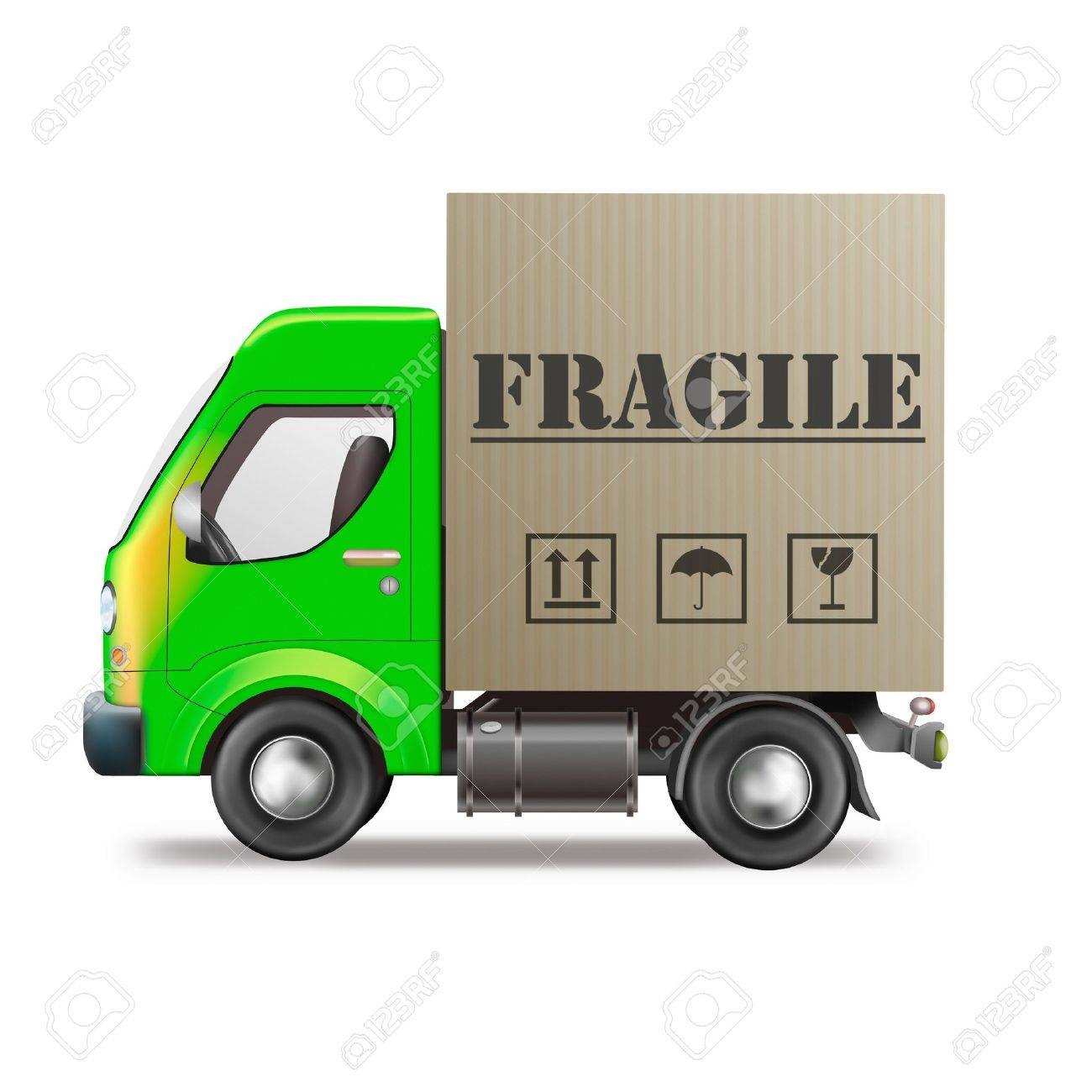 fragile delivery handle with care delivery truck with cardboard box breakable package or parcel sending careful transportation Stock Photo - 9387512