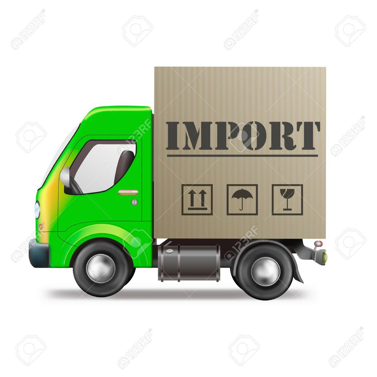 Import International And Worldwide Trade Delivery Truck With.. Stock ...