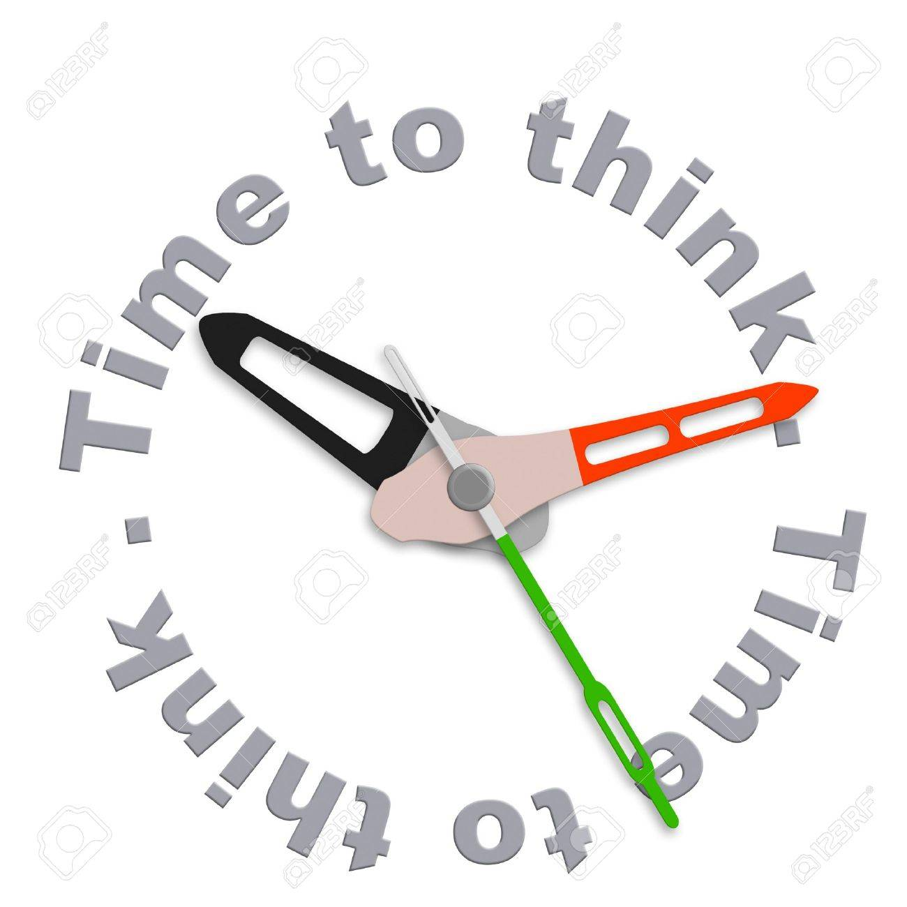 Time to think consider thoughts and make balanced decision isolated clock indication contemplation countdown brainstorm and innovate Stock Photo - 9497569
