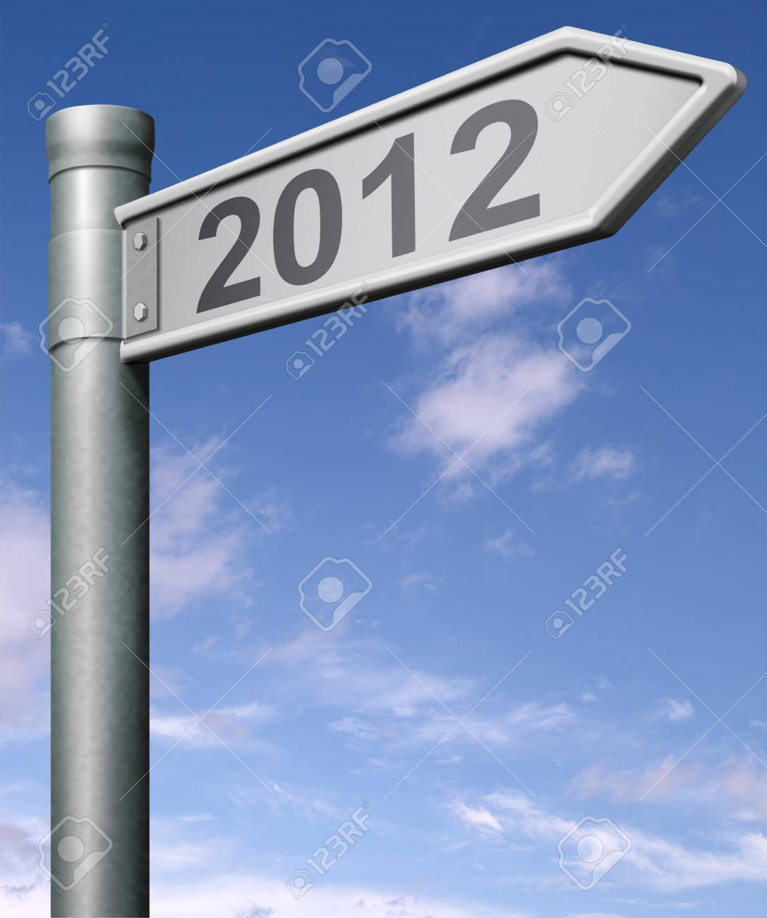 2012 next year road sign arrow pointing towards a happy new year button, arrow Stock Photo - 9497593