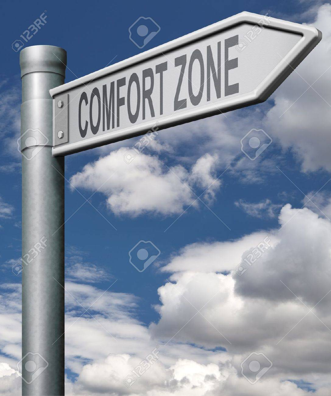 comfort zone road sign choose easy way with no risks, arrow Stock Photo - 9497583