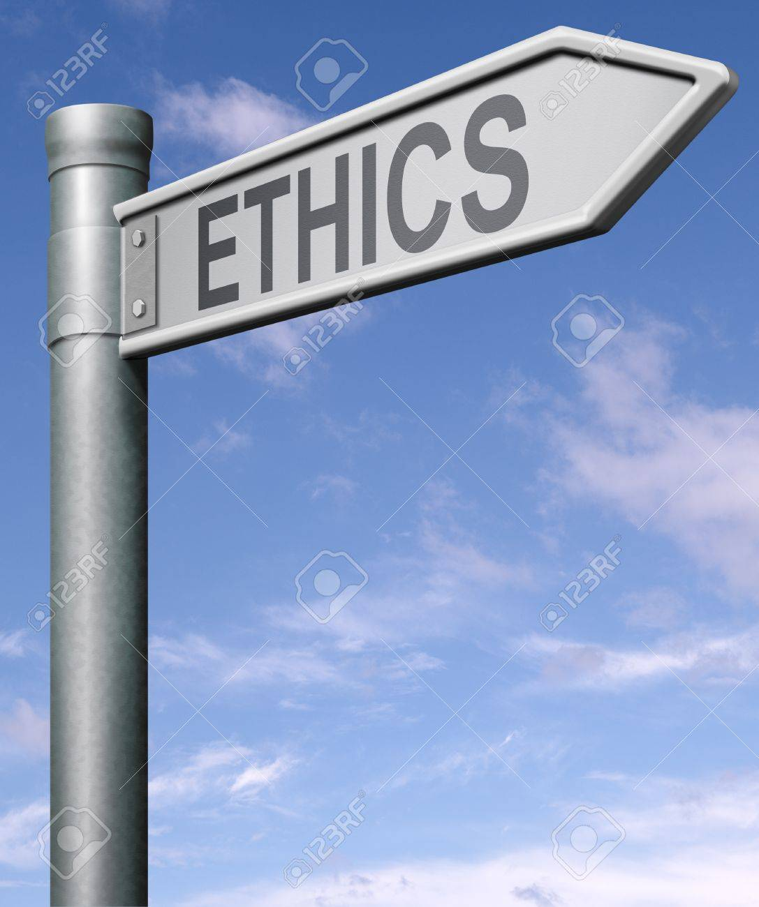 ethics road sign arrow indicating way to choice between good and bad or evil Stock Photo - 9497572