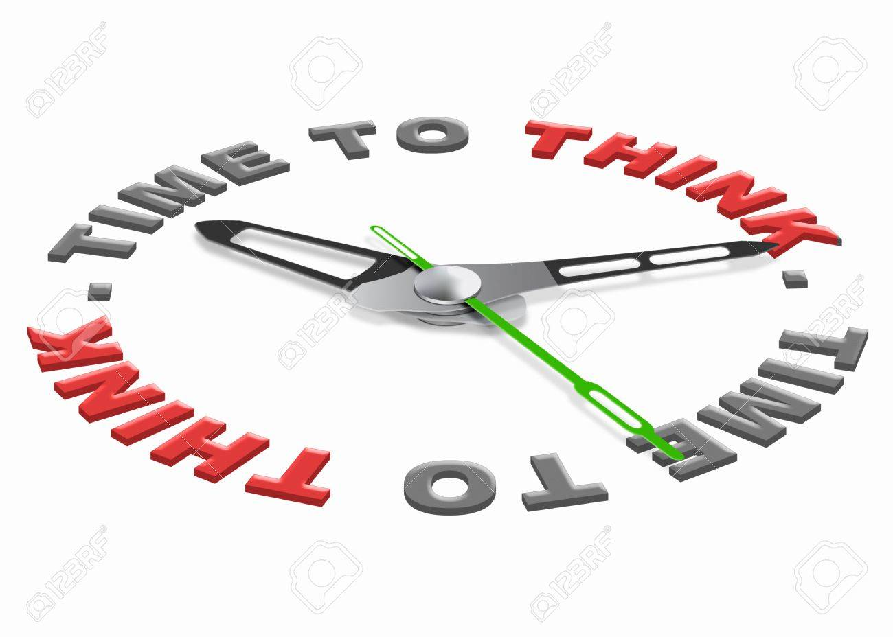time to think for finding a solution and answer to a difficult question. Red text with clock. Hour for self reflection. Stock Photo - 9828725