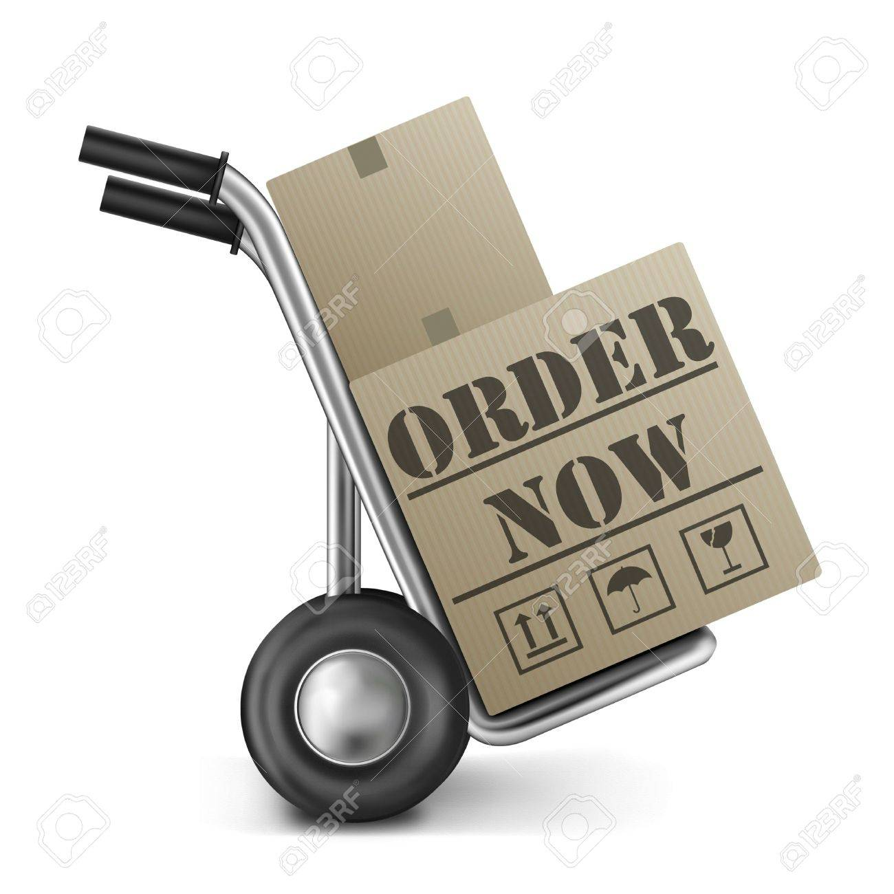 order now buying on online web shop placing orders on internet shop cardboard box on trolley or cart button or icon Stock Photo - 11289461