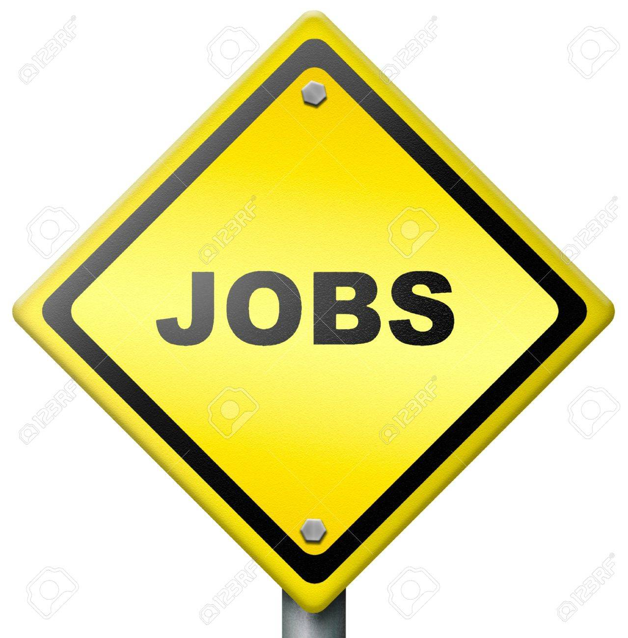jobs ahead opportunity and warning for a career move or job stock photo jobs ahead opportunity and warning for a career move or job interview or ad diamond road sign in yellow hiring now in an advert button or icon