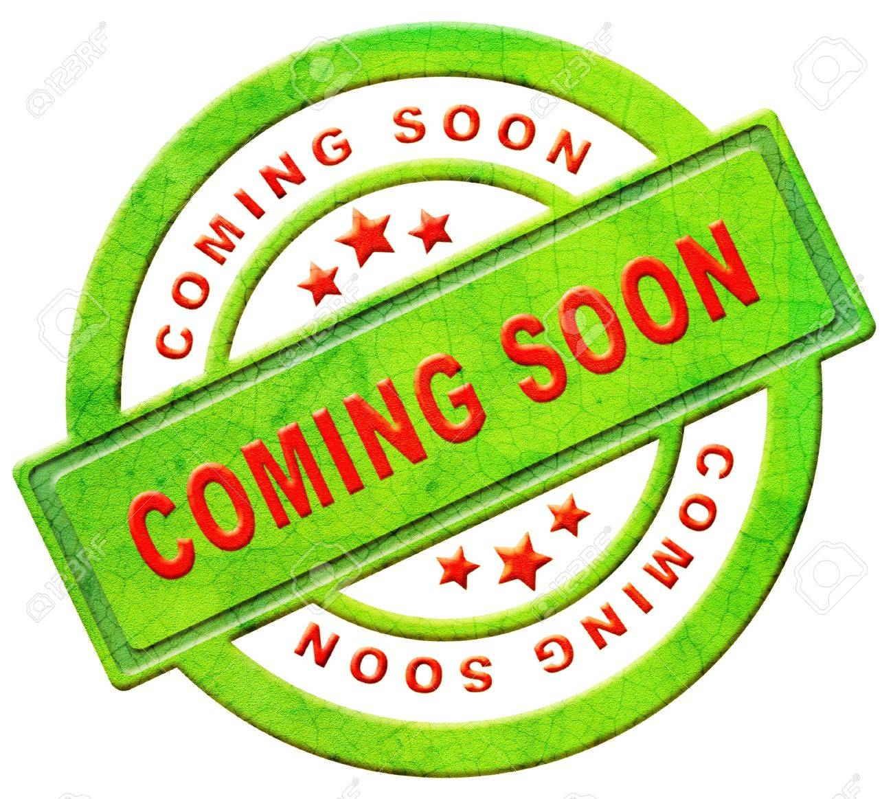 coming soon label new arrival announcement product campain notification soon available red text on green icon isolated on white Stock Photo - 12440960