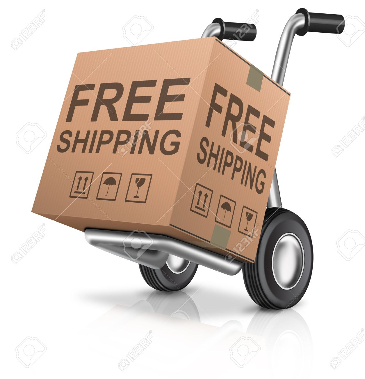 free shipping or delivery for online order of a web shop cardboard box with text ecommerce icon sending package concept for internet shopping Stock Photo - 13222524