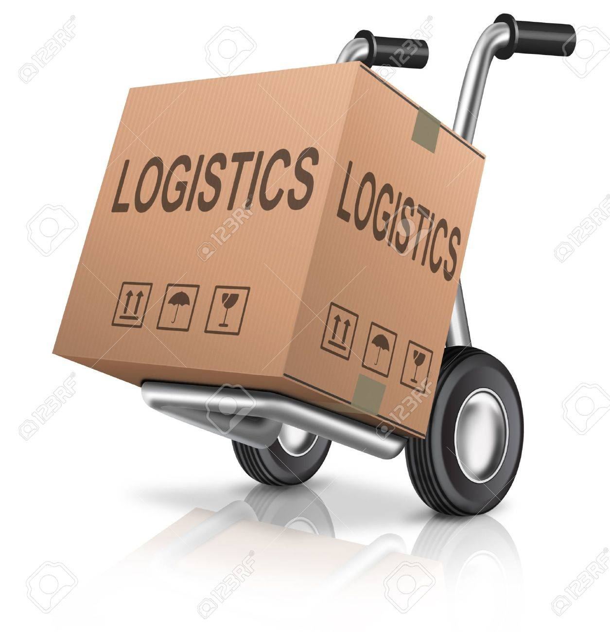 logistics hand truck freight transportation concept for global international trade cardboard box with text Stock Photo - 13222519