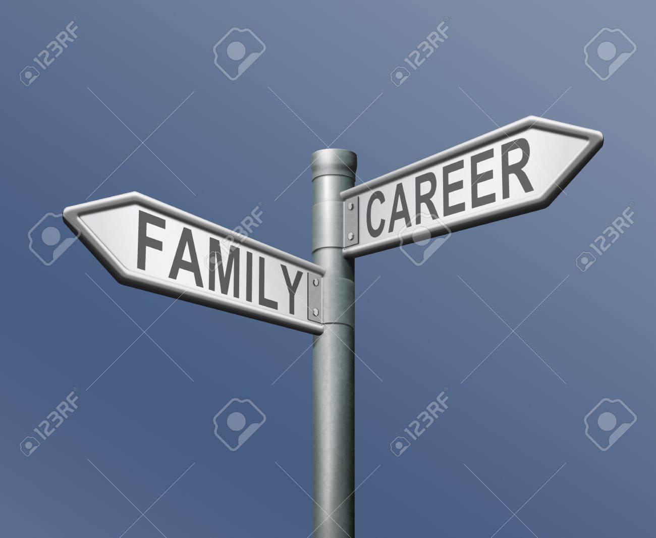 family or career difficult choice and balance between work and stock photo family or career difficult choice and balance between work and private life dilemma road sign arrow text