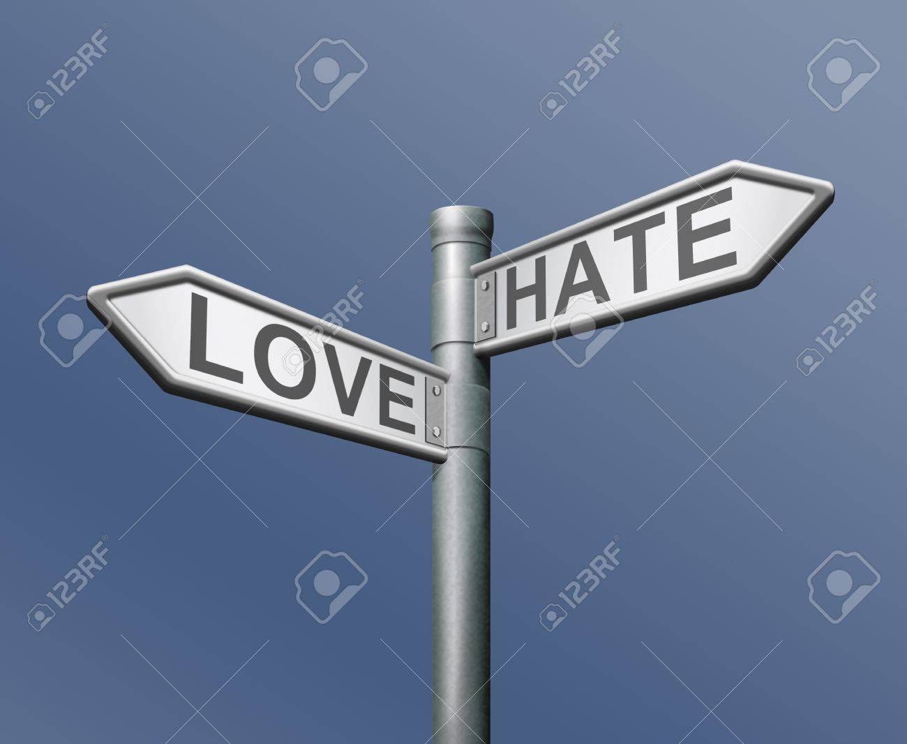 love hate opposite choice like it or not positive or negative different taste Stock Photo - 13277732