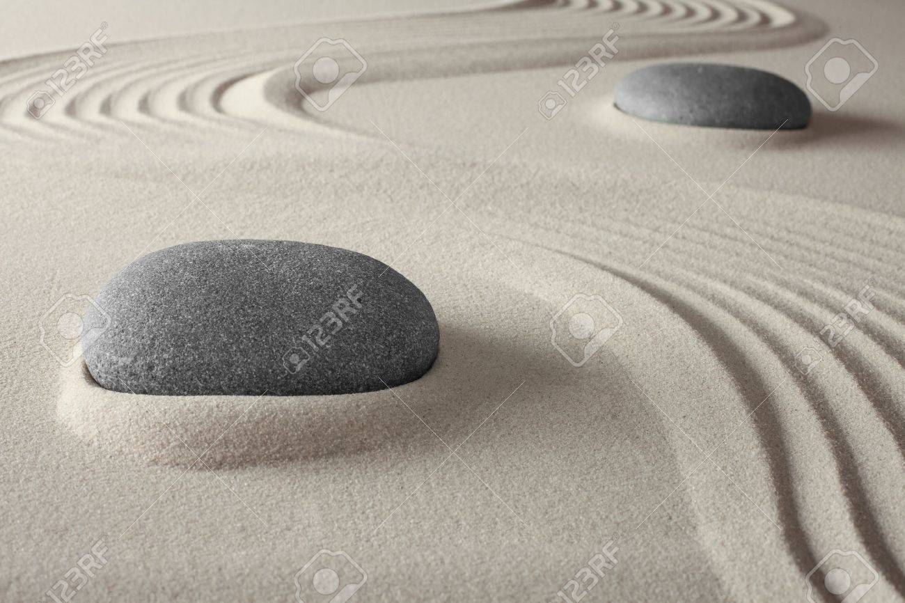 spiritual spa background zen garden with sand and rock concept for harmony relaxation and meditation tao buddism conceptual for welness treatment Stock Photo - 13277749