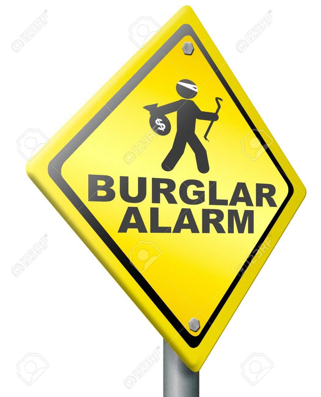 burglar alarm prevention from burglary and robbery warning sign rh 123rf com Home Alarm Systems Burglar Alarm Circuit