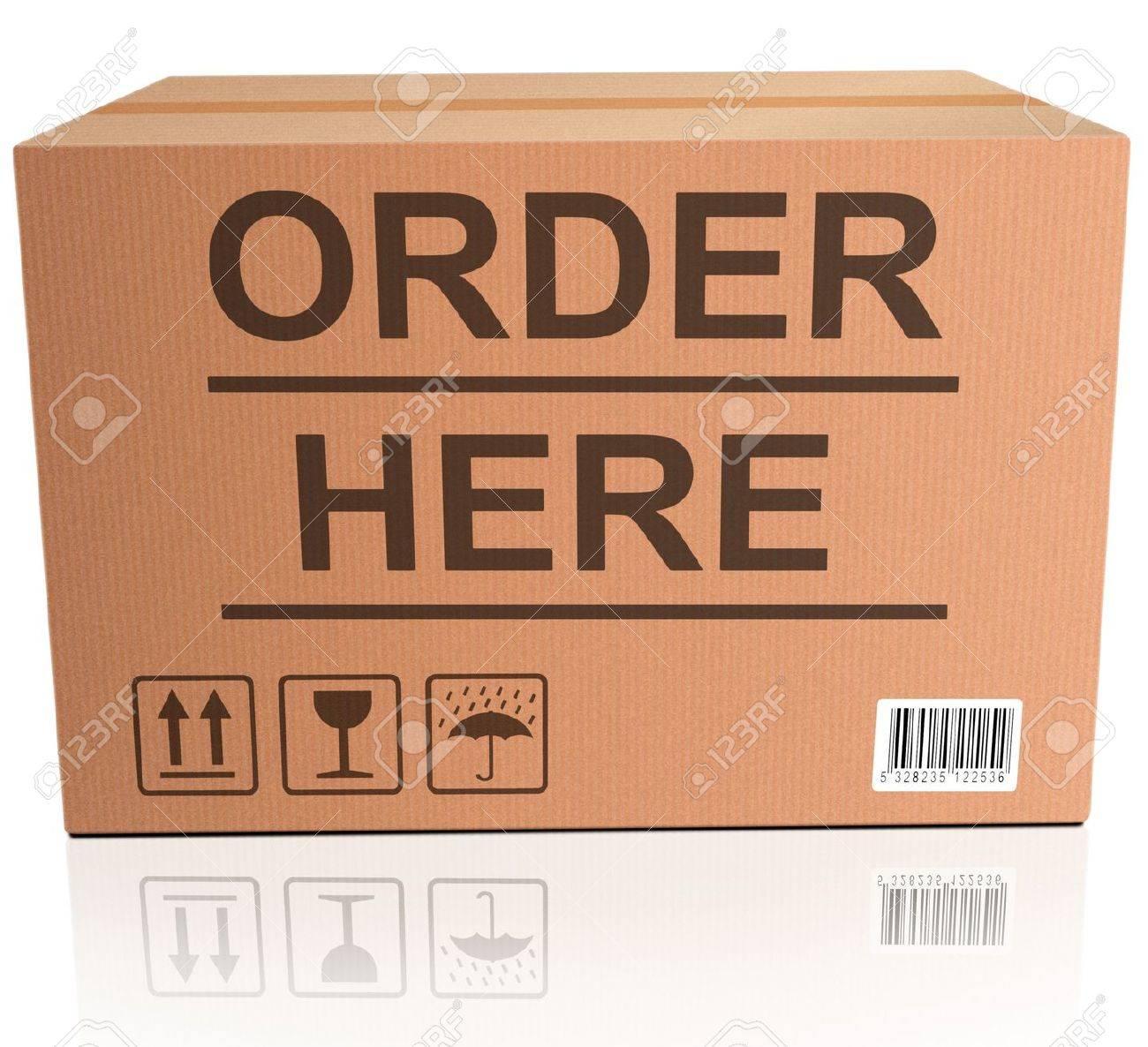 order here webshop icon cardboard box with text online internet web shop illustration Stock Illustration - 15889230