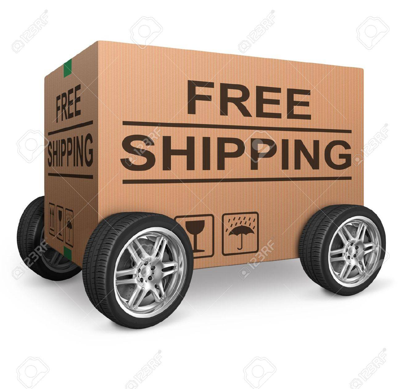 free shipping or package delivery order web shop shipment in cardboard box icon for online shopping ecommerce button Stock Photo - 15978694