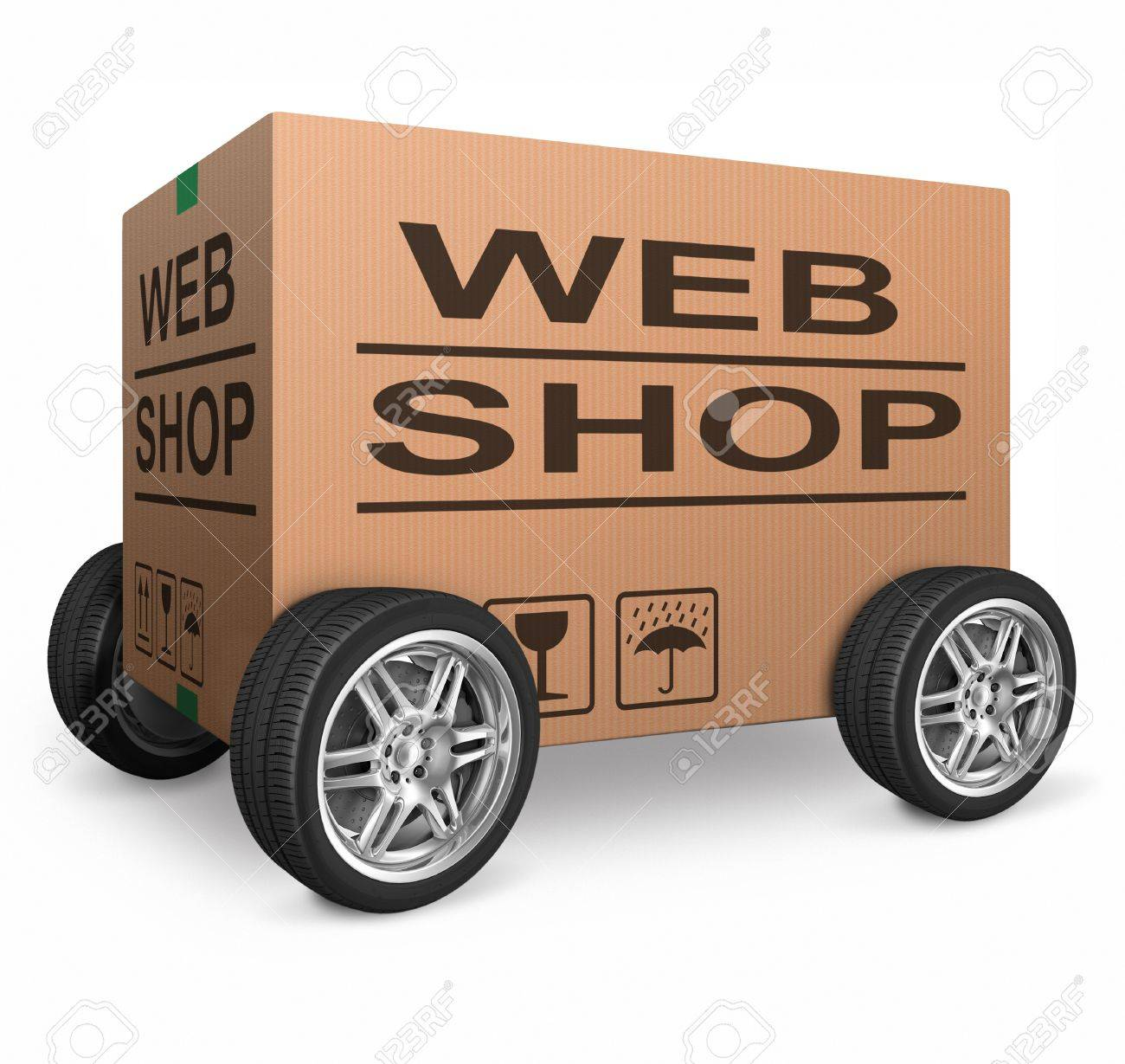 web shop cardboard box online shopping and placing order on internet package delivery worldwide brown post parcel Stock Photo - 15978704