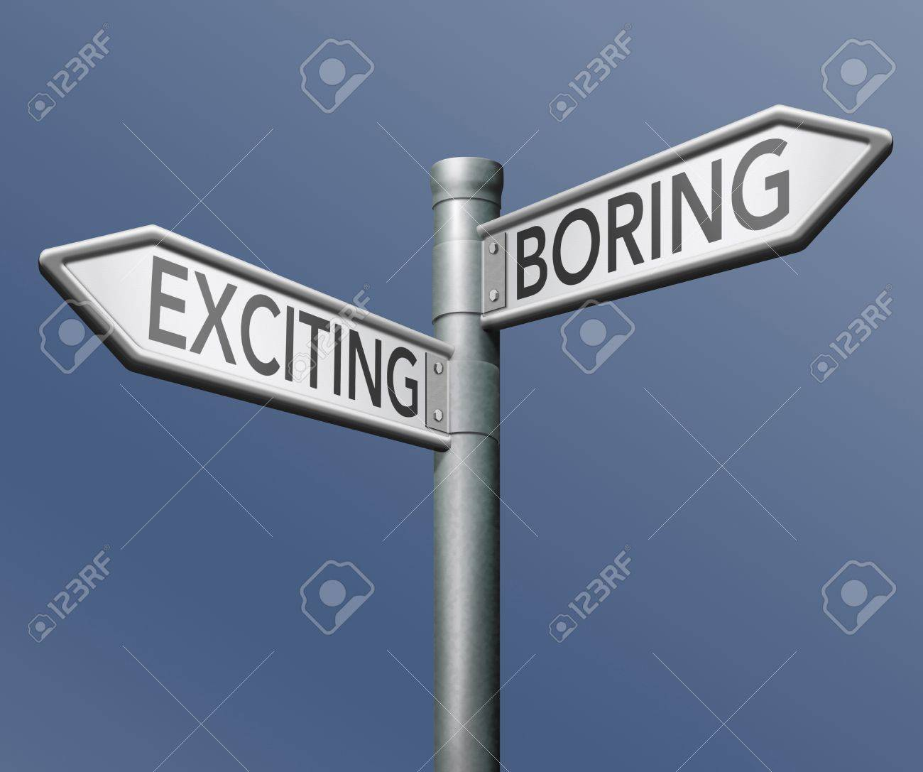 exciting or boring choose adventure fun and thrilling positive attitude roadsign with text Stock Photo - 16408994