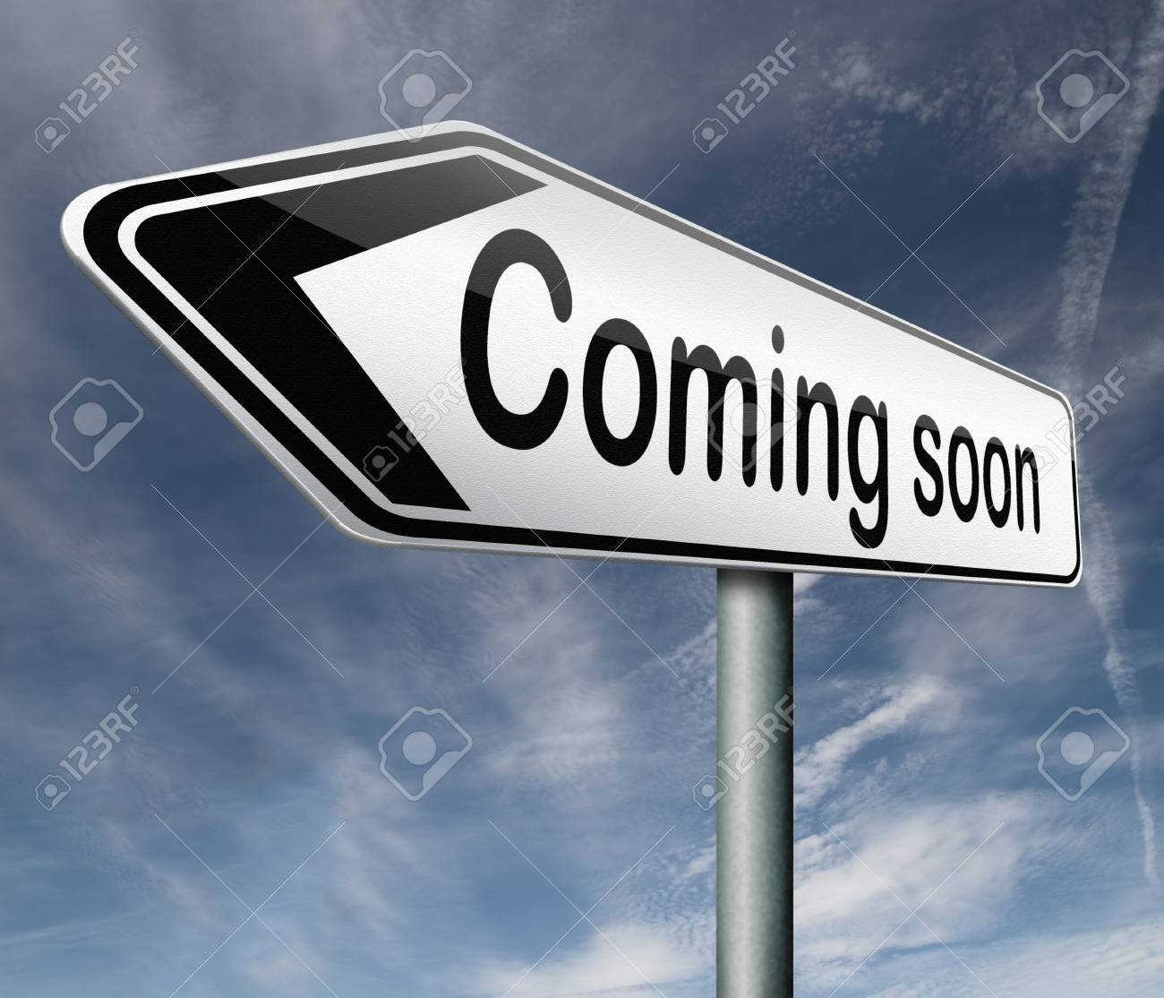 coming soon expecting in the near future next week month or year Stock Photo - 16821429