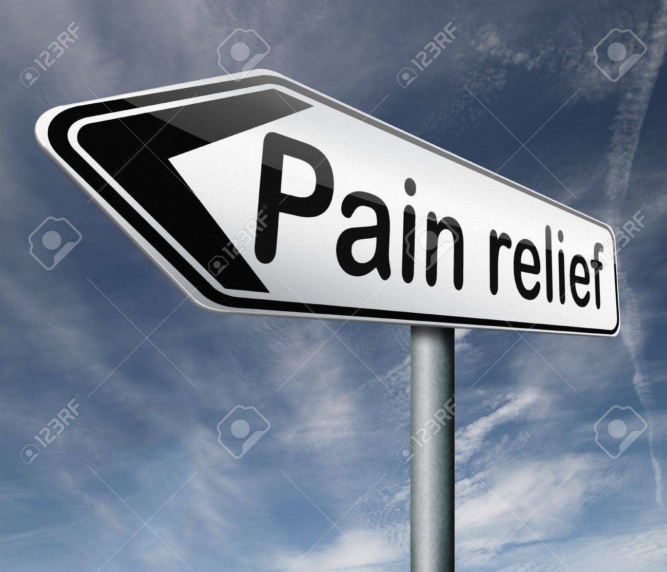 pain relief or management by painkiller or other treatment chronic back injury road sign with text Stock Photo - 16821420
