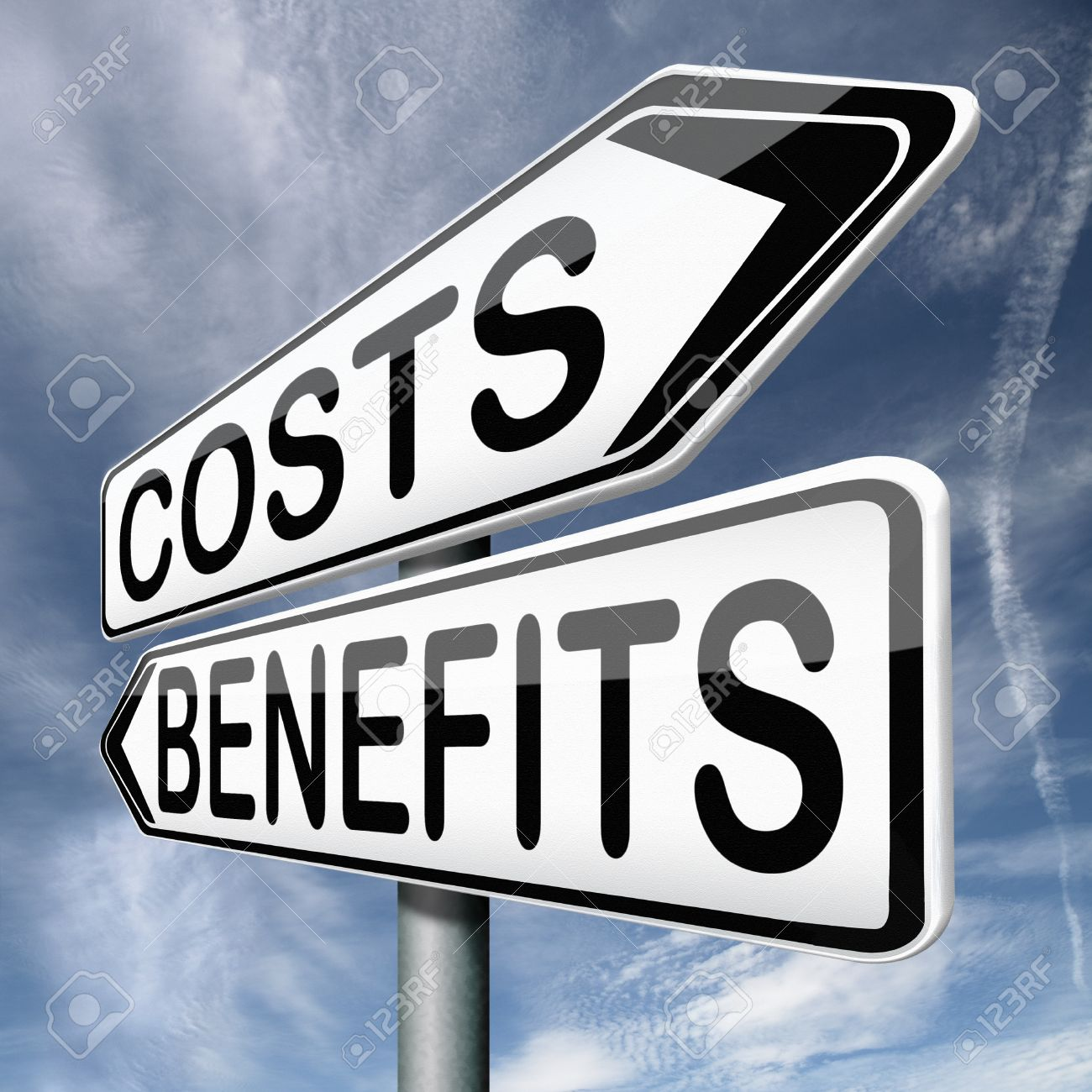 costs and benefits analysis business management investment value and analysis of financial risk cost versus value Stock Photo - 17411676