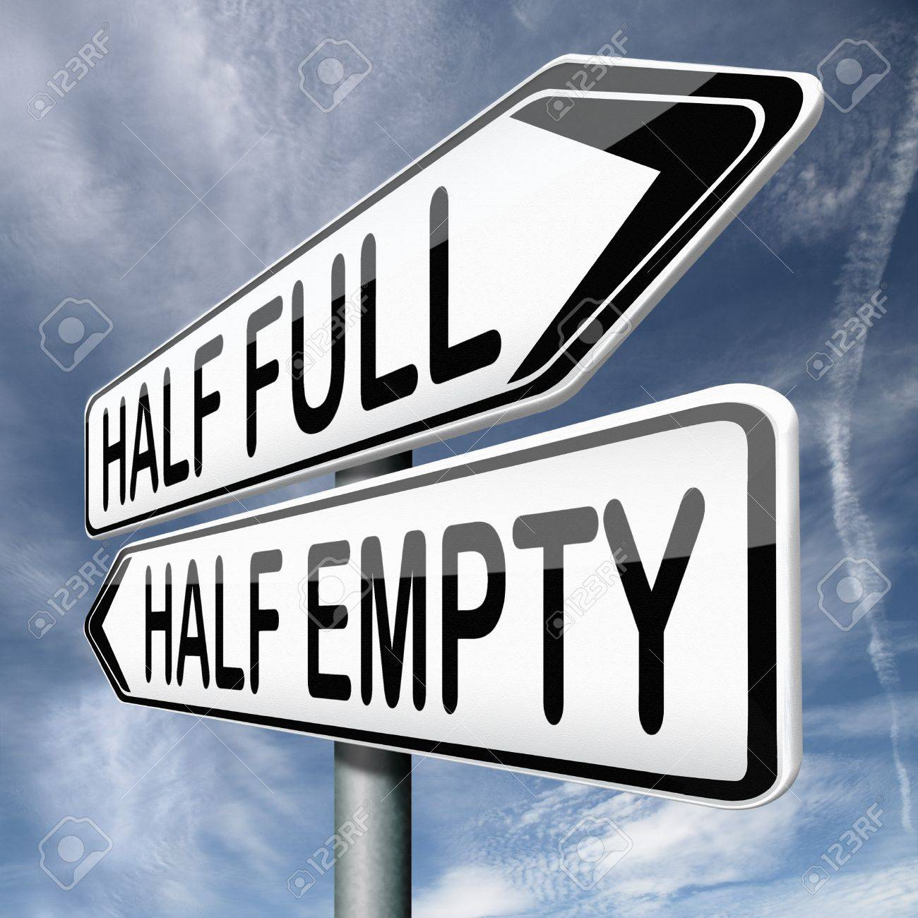 optimism or pessimism for an optimist the glass is half full stock photo optimism or pessimism for an optimist the glass is half full for the pessimist it is half empty which philosophy do you follow are you